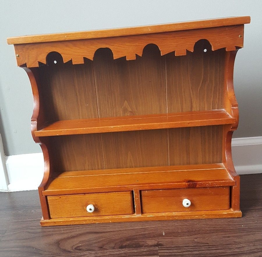 Vintage Wood 3 Shelf 2 Drawer Wall
