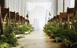 Ferns down the aisle, very woodsy