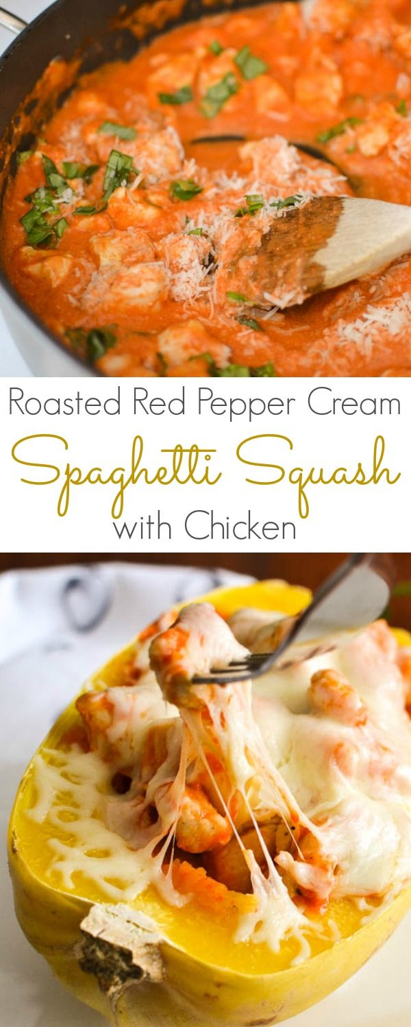 Cheesy Spaghetti Squash Boats with Chicken & Roasted Red Pepper Cream Sauce - a healthy, 21 Day Fix dinner recipe using my favorite pasta swap, so no yellows!