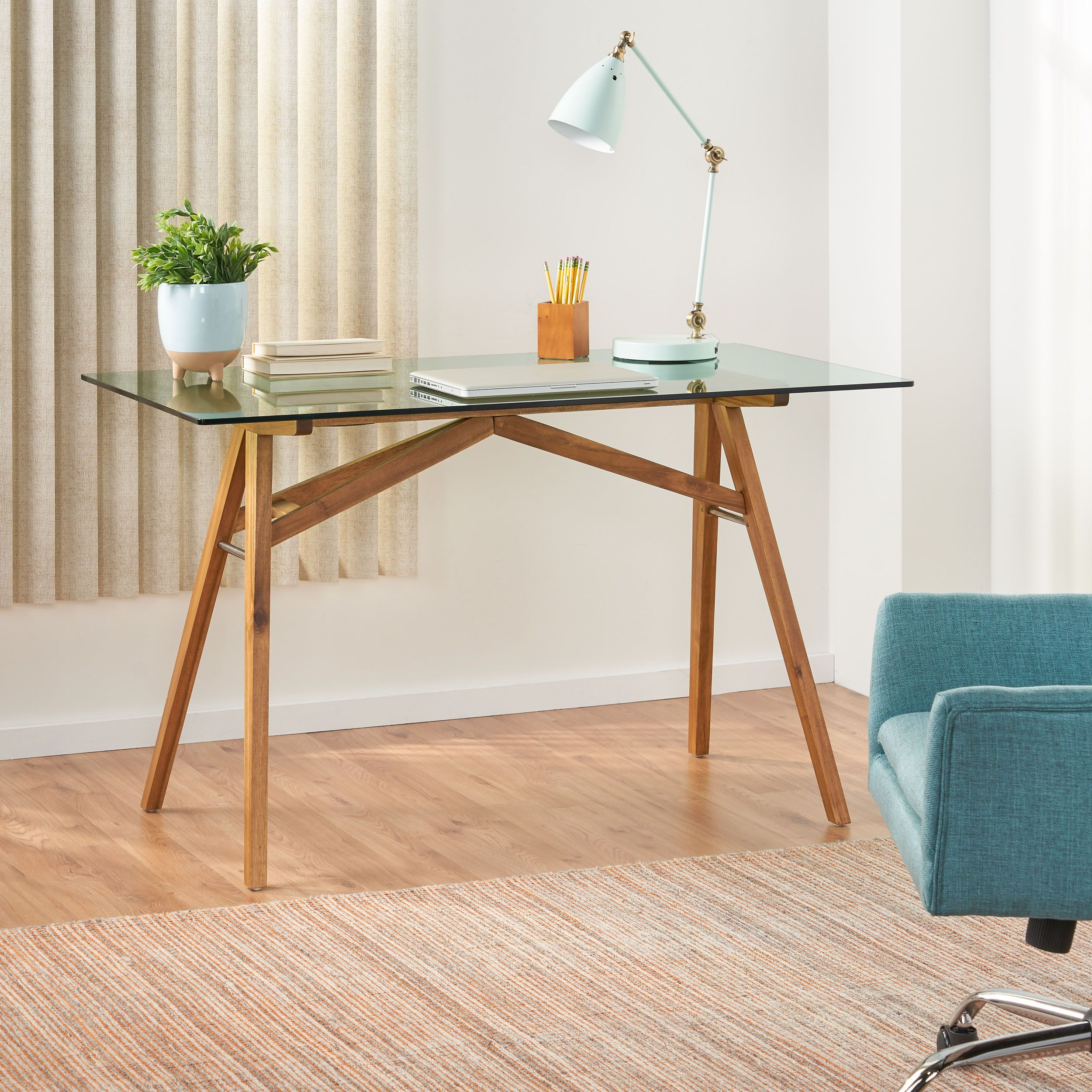 Camey Mid Century Acacia Wood Desk With Tempered Glass Top In 2020 Glass Desk Modern Wood Desk Acacia Wood Desk