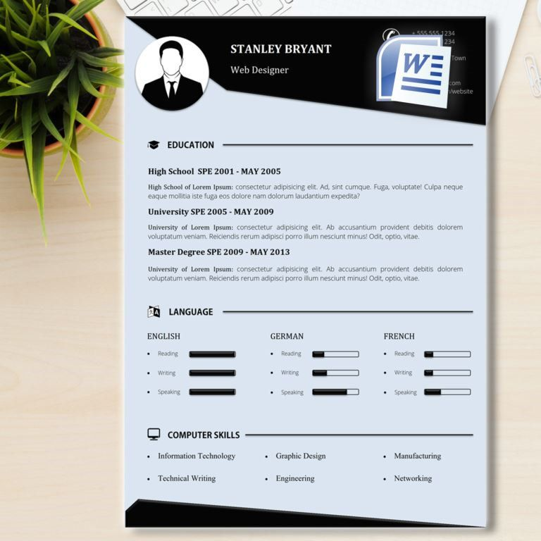 Black and White Resume Template + Cover Letter, CV Template (US - professional word templates