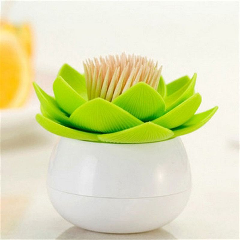 4 Colors Lotus Home Decor Toothpick Cotton Swab Holder Storage Box Pick Toothpick Holder