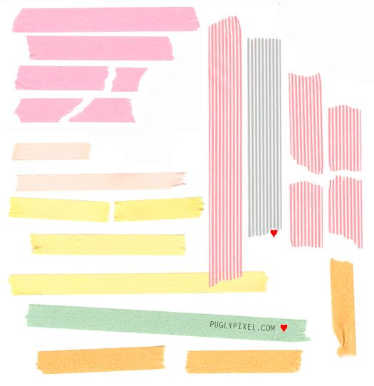 Free Clip Art: Tape Strips (commercial use)    puglypixel