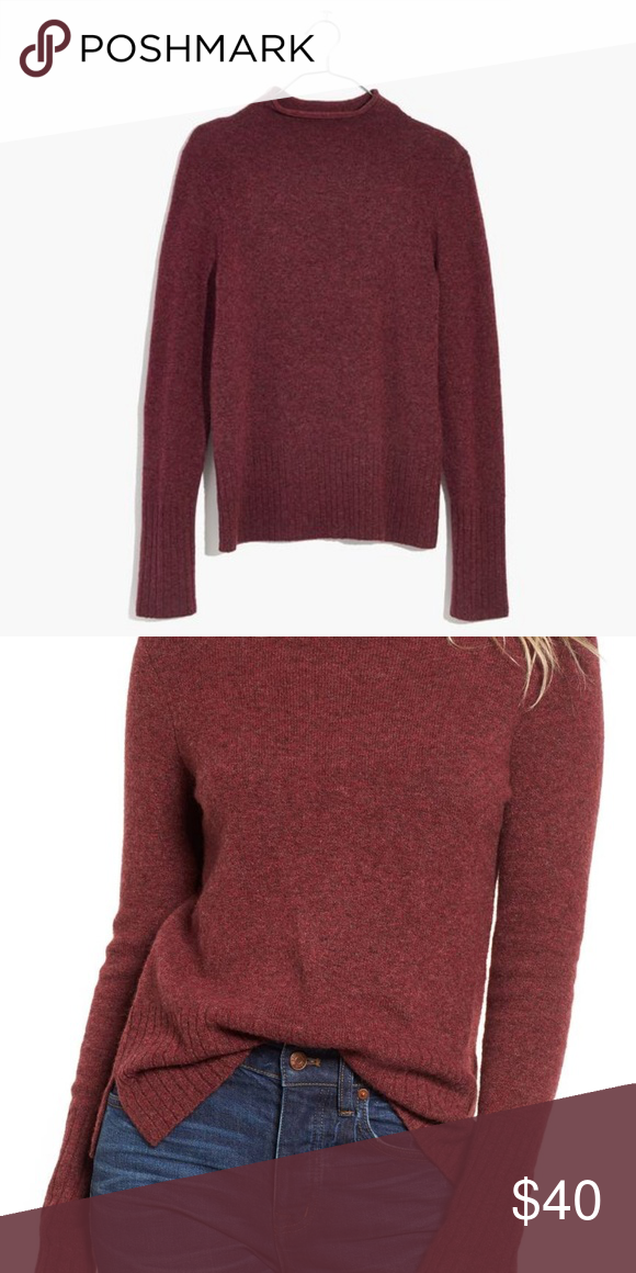 091c134de2d Madewell Inland Turtleneck Sweater Madewell Inland Turtleneck Sweater Color  burgundy Subtly rolled turtleneck Ribbed cuff and