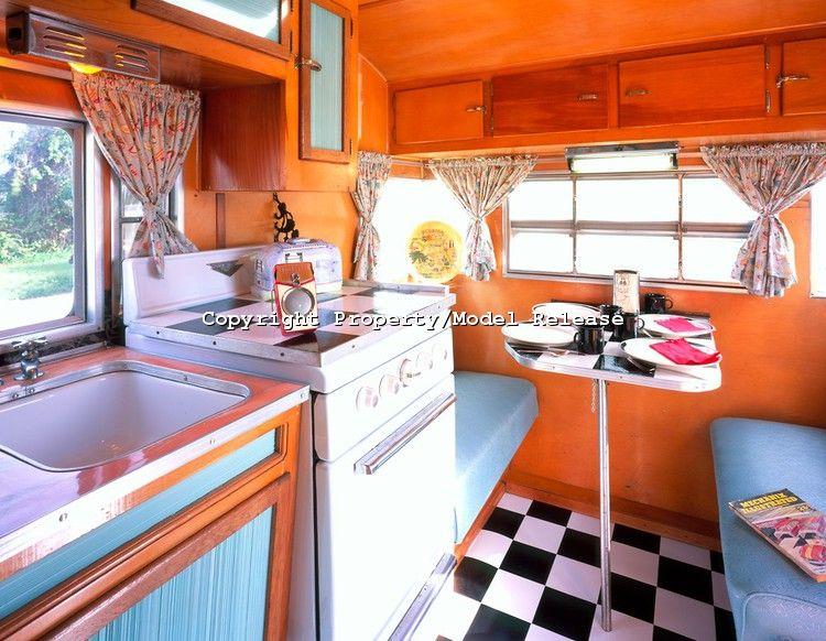 Kitchen Interior Of A 1957 Comet Canned Ham Vintage Travel Trailer