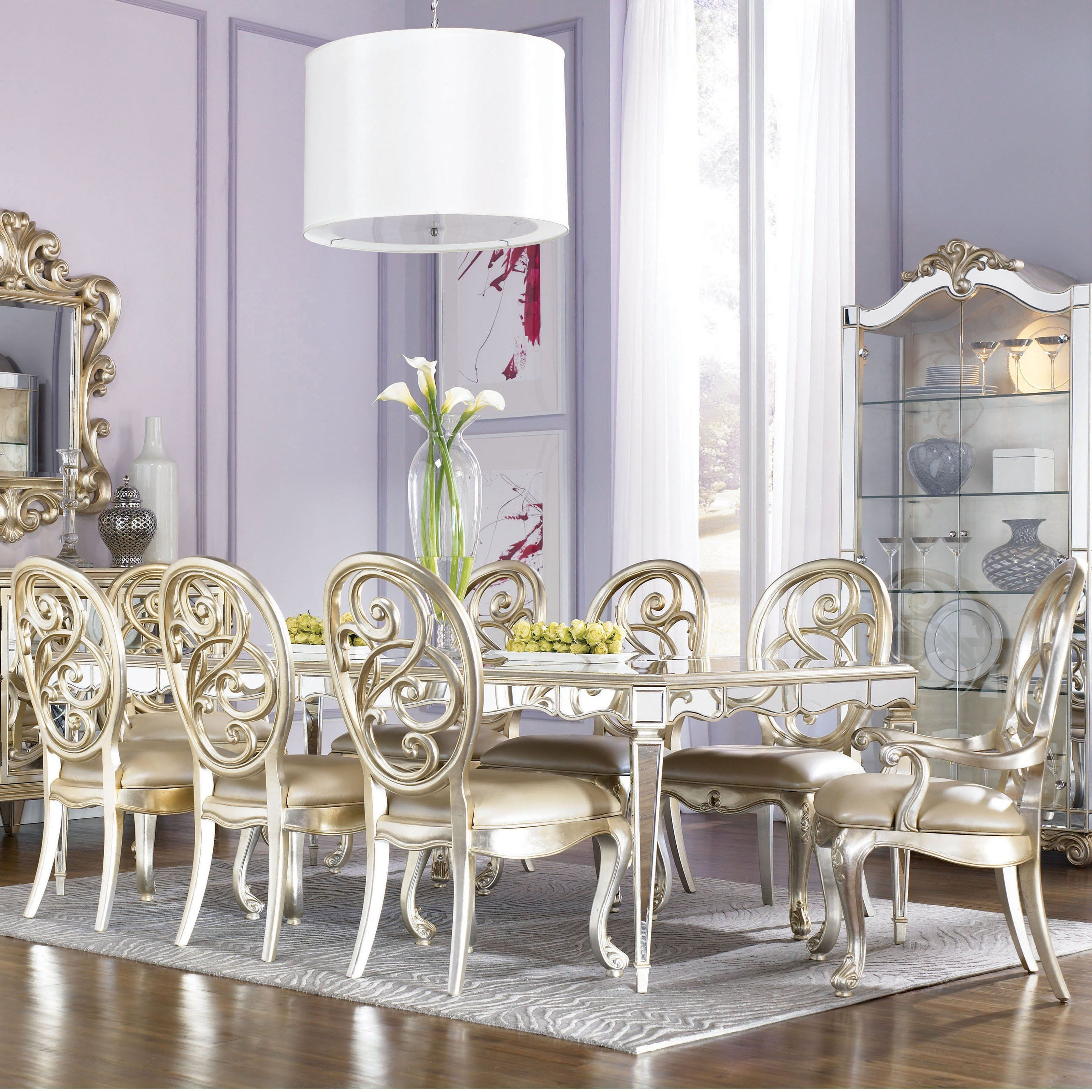 Dining Room Mirrors Antique american drew jessica mcclintock couture antique mirrored dining