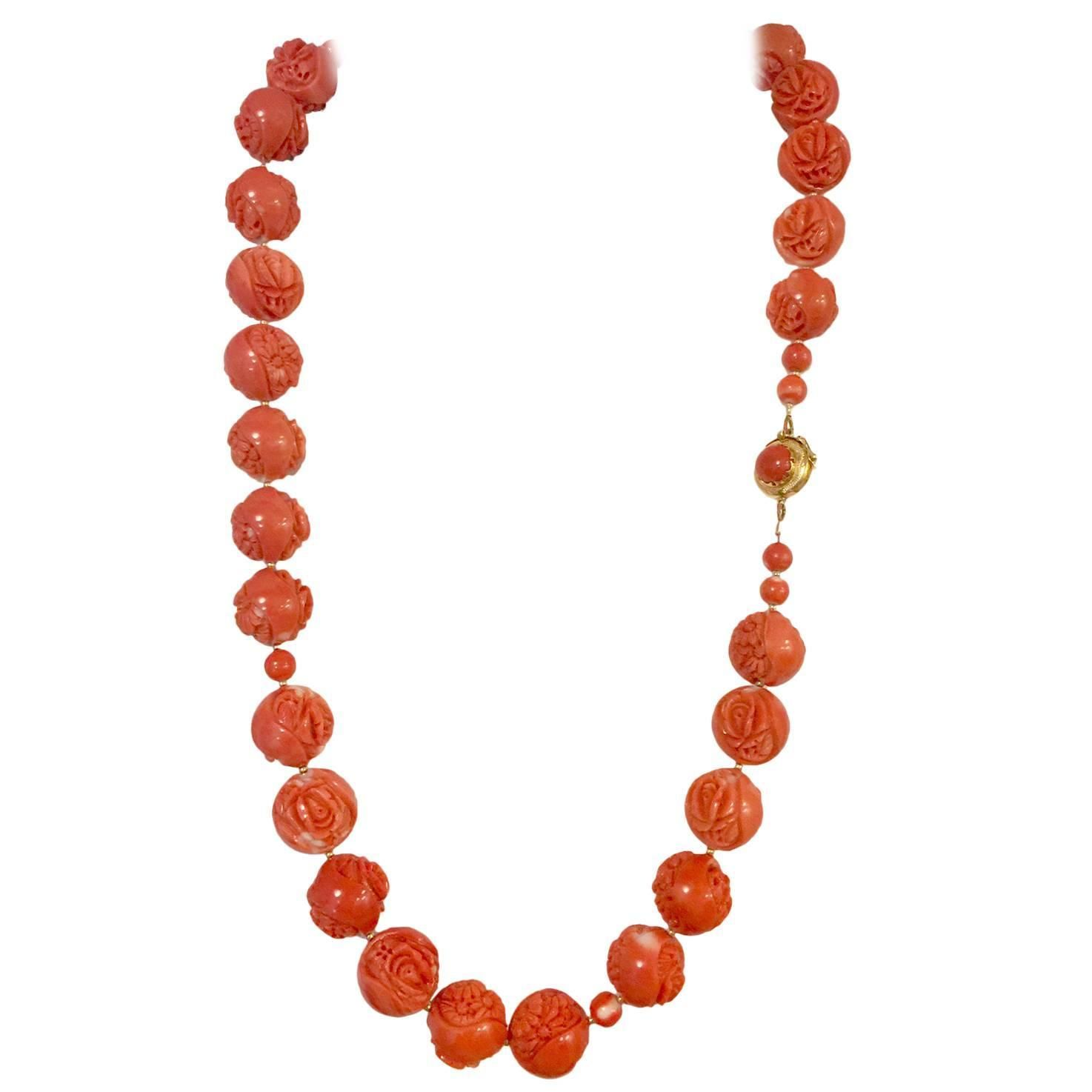 Magnificent Carved Momo Coral Gold Bead Necklace | From a unique collection of vintage beaded necklaces at https://www.1stdibs.com/jewelry/necklaces/beaded-necklaces/
