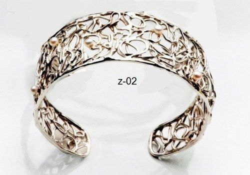 Jewelry Bracelet Bangle Sterling Silver 925 Wires Pearl Handmade Artisan Crafted Women  8 Inches Free Shipping