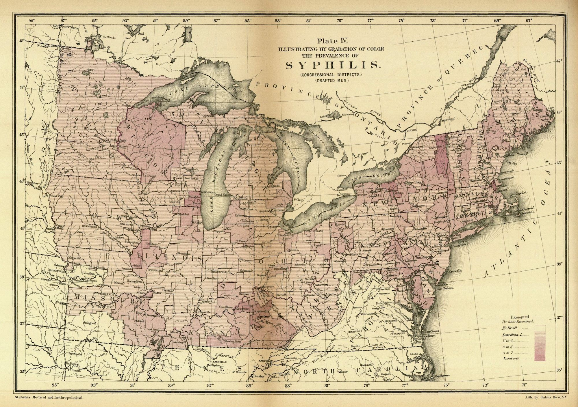 This 1875 map of the northern United States depicts the presence of ...