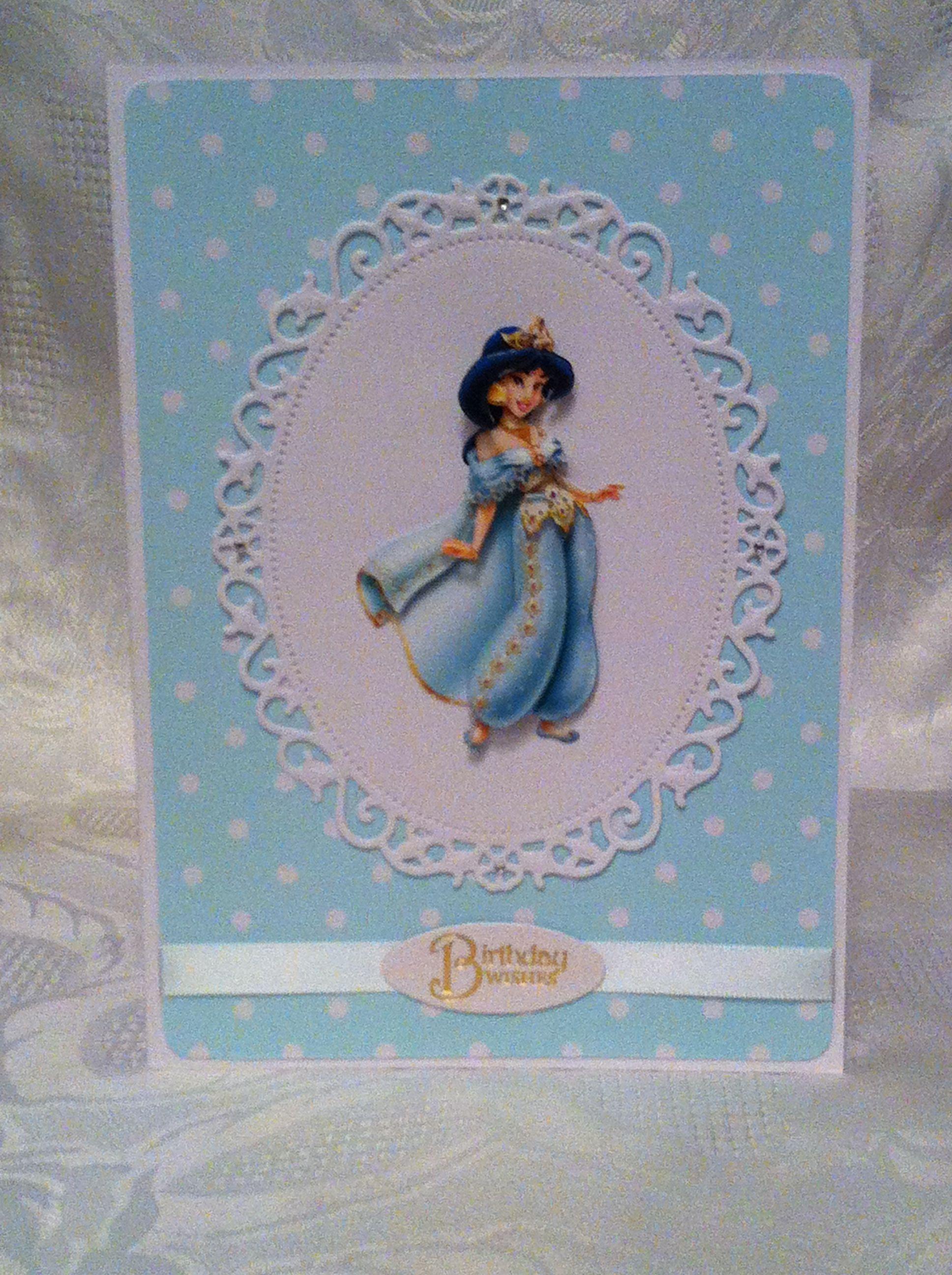 princess jasmine handmade decoupage card wwwfacebook