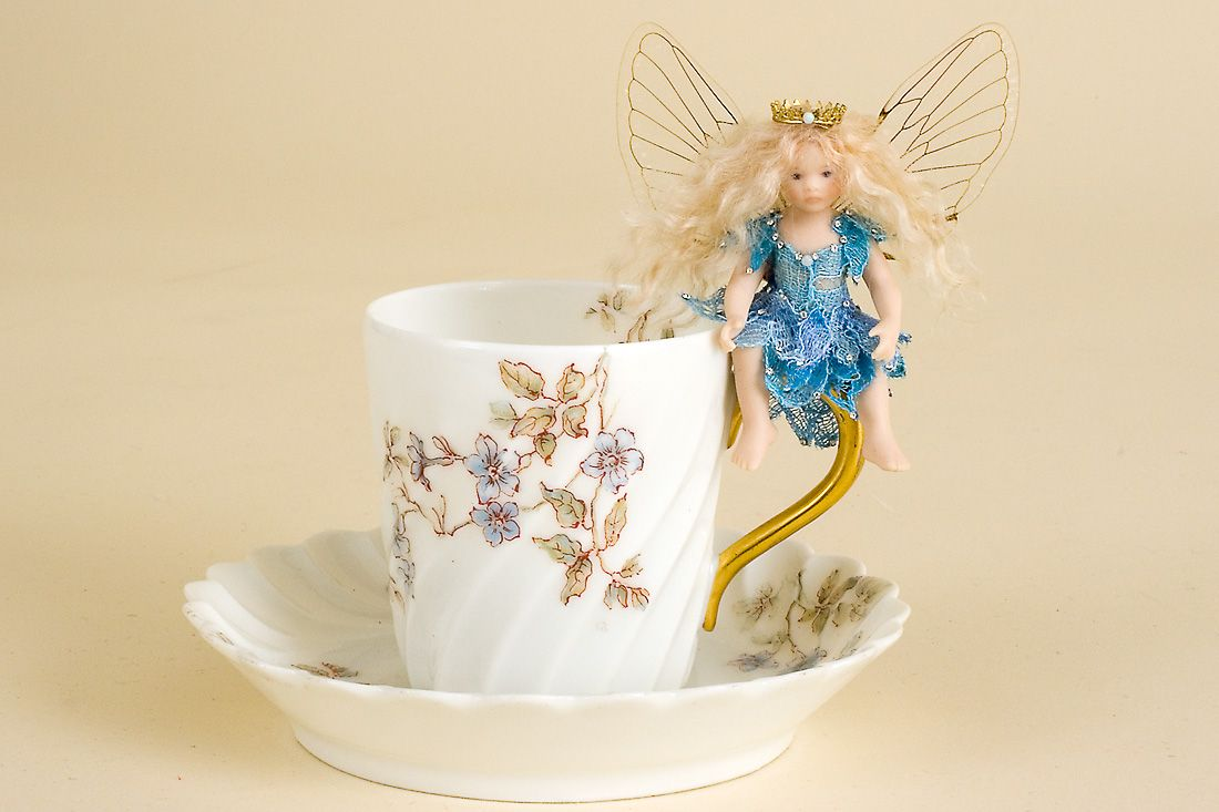 Demitasse Fairy no.6 - collectible one of a kind porcelain art doll by doll artist Susan Snodgrass.