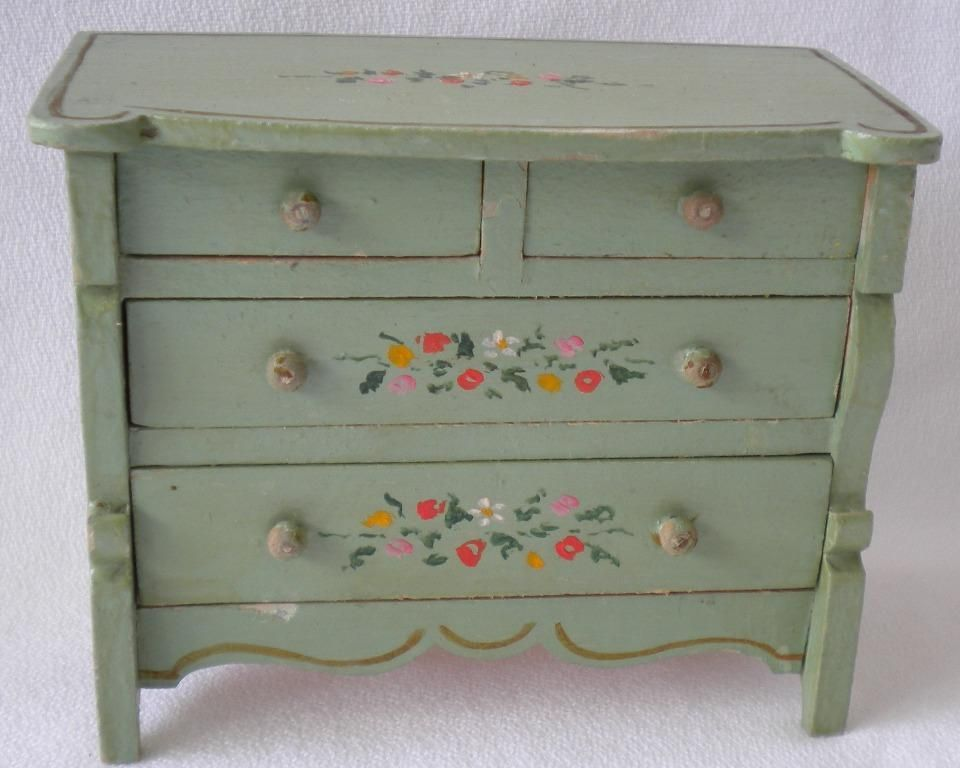 Tynietoy Vintage miniature painted furniture Empire Chest   Sleigh bed from  sondrakruegerantiques on Ruby Lane. Vintage Yellow Chalk Painted Furniture   270 1L jpg     BRING THE
