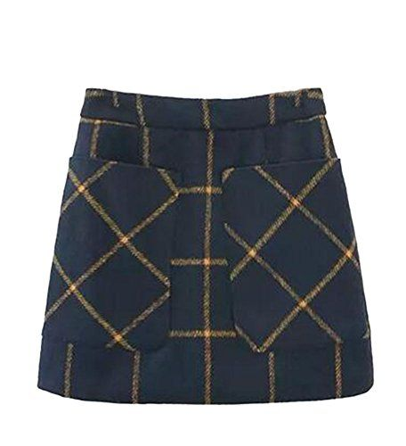 OUCHI Women Girls Winter Checked Big Pockets Wool Aline Pencil Mini Skirt Darkblue >>> Click on the image for additional details.