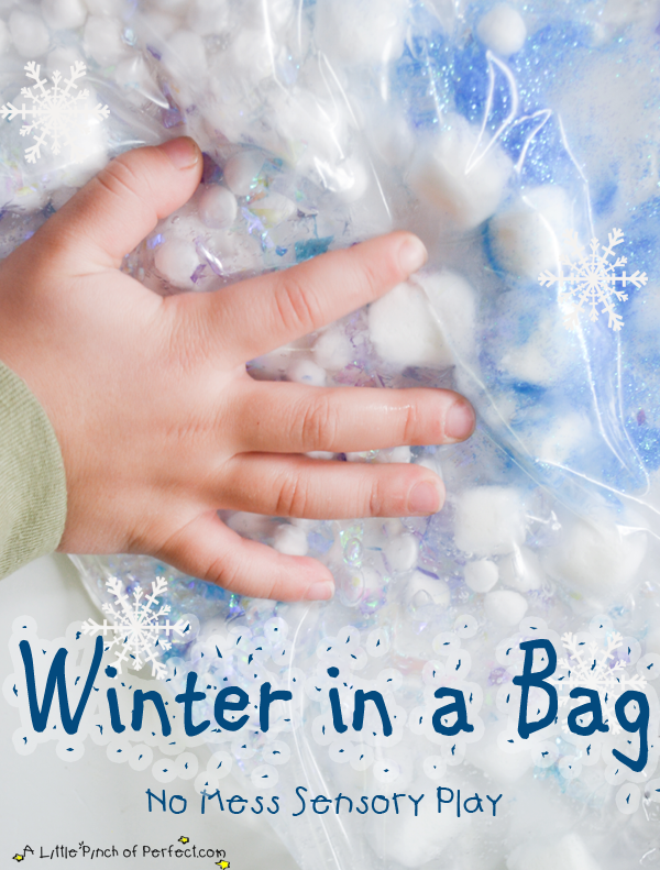 No Mess Sensory Play: Winter in a Bag | A Little Pinch of Perfect