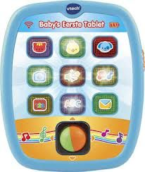 Vtech Baby's eerste TABLET  Tik, rol en leer! Kennismaken met dieren, kleuren, letters en muziek!   Kennismaken met dieren, kleuren, letters en muziek!Rol de bal en kijk naar de mooie lichtpatronen op het  tabletMet 9 knipperende activiteit-toetsen Dankzij het handige formaat neem je de tablet overal mee naar  toe10 melodietjes en 3 gezongen liedjesVolumeschakelaarAutomatischeuitschakeling  Inclusief 2x AAA batterijen. Geschikt voor kinderen van 6  maanden tot 3 jaar.