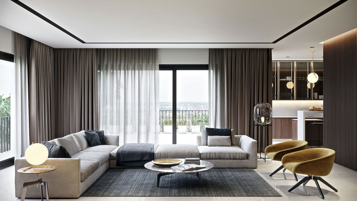 Rendering For A Stylish Living Room Design On Behance S