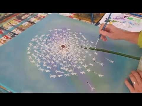 kreativ statt bild acryl malen pusteblume painting dandelion youtube kritzeleien. Black Bedroom Furniture Sets. Home Design Ideas