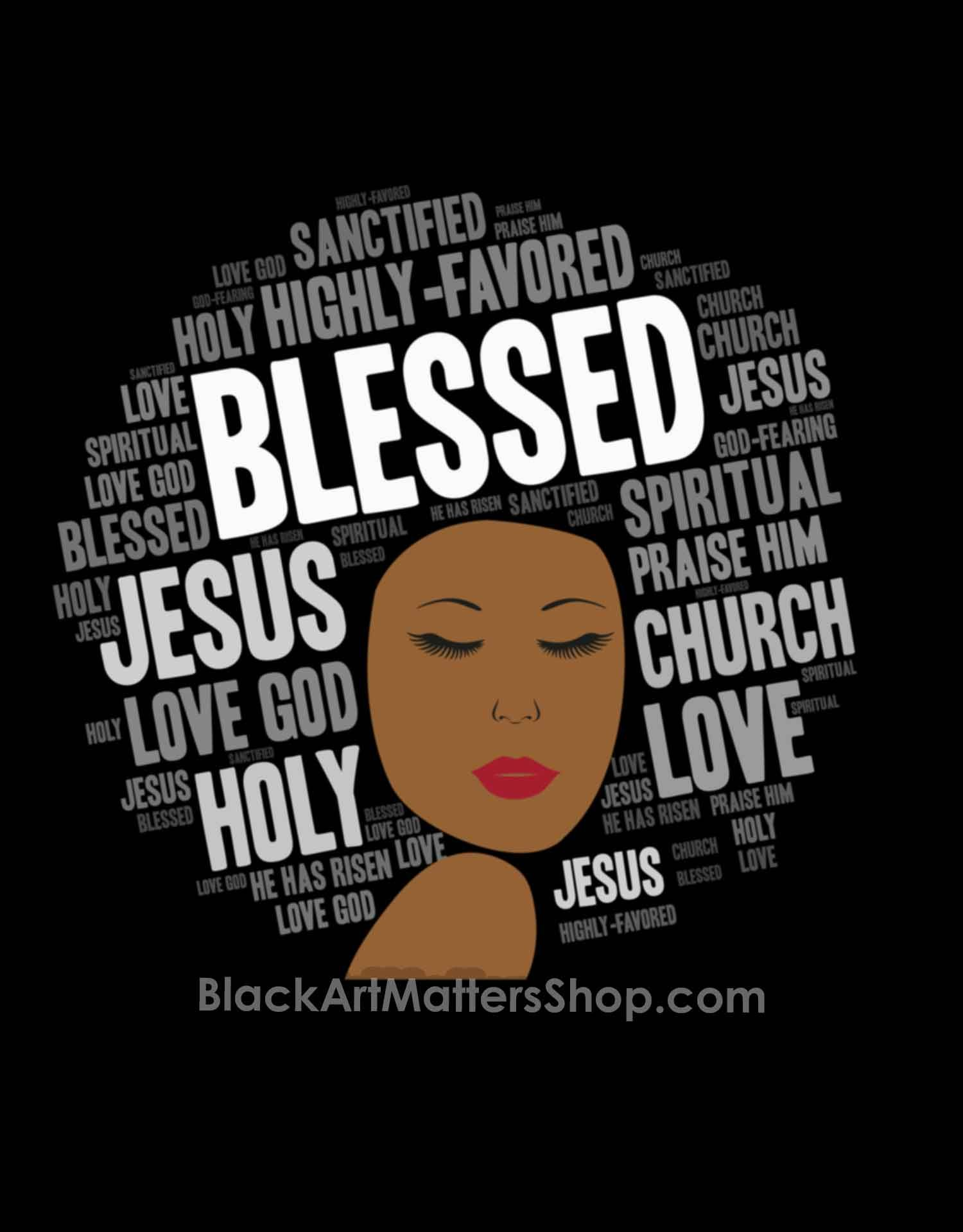 Blessed Christian Woman Words in Afro Sleeveless Top in
