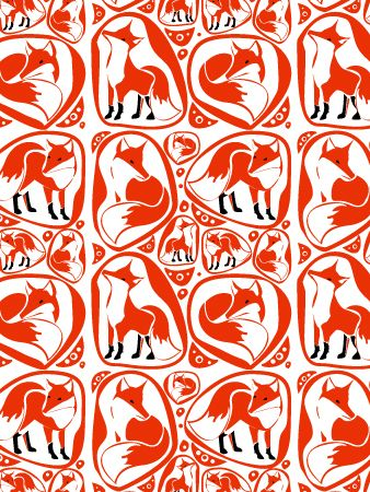 Surface pattern design – Foxes: shown here in various compositions and colour schemes, the design can be carried across fabric or paper goods. Alldesigns are available for licensing unless otherwi…