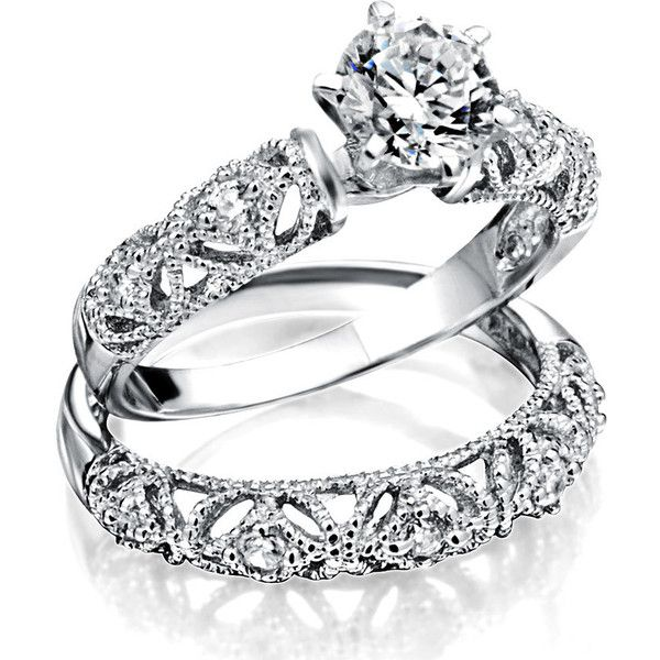 Bling Jewelry 925 Silver Vintage Style 3ct CZ Pave Engagement Ring Set Rhzg9BV