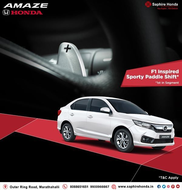 Go Big on safety, comfort and style with Honda Amaze. Book a test drive today! *T&C Apply.  Call: 8088651651 #HondaOffer #HondaCars #Bangalore #testdrive #HondaAmaze