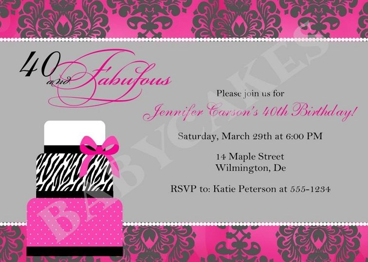 40th Birthday Invitation Wording Woman With Images 40th