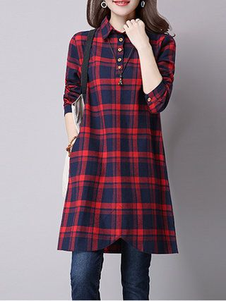 9c8bac945225 Red Casual Checkered/Plaid H-line Shirt Collar Dress in 2019 ...