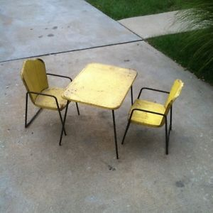 Childs Vintage Antique Metal Table Chairs Kitchen Set 1950u0027s? Kids Play