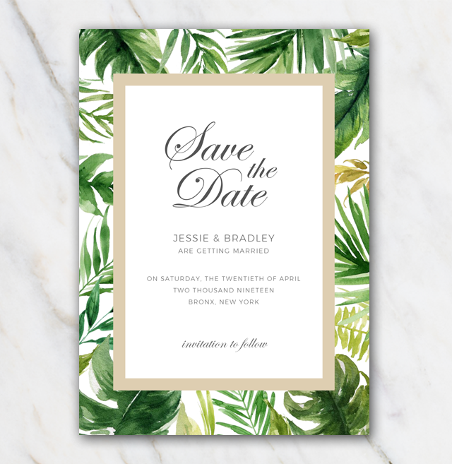 Tropical Palm Tree Leaves Wedding Save