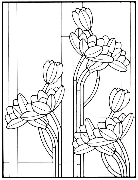 Art Nouveau Stained Glass Pattern Book | Hogar... y algo más ...