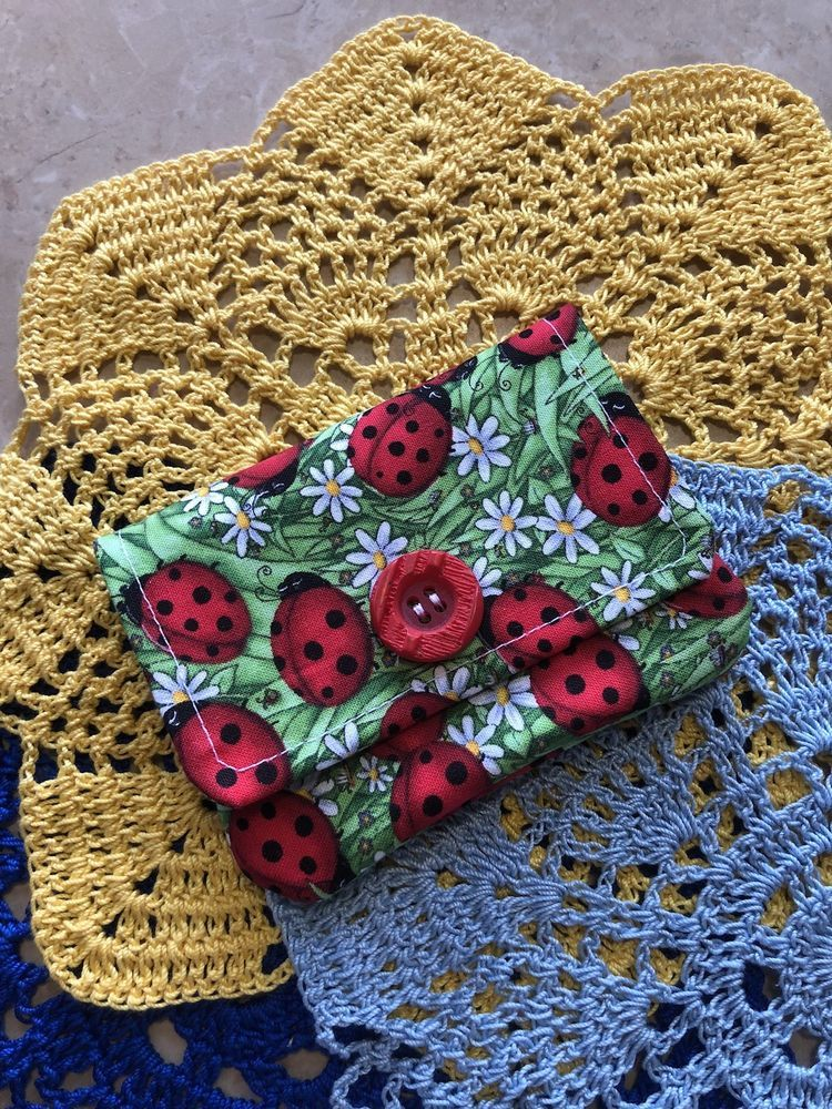 Fabric Credit Card Wallet, Business Card Holder, Ladybugs and ...