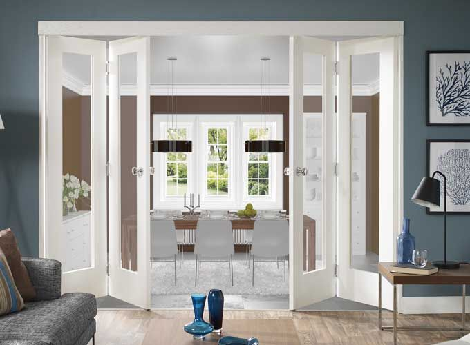 Freefolding White Interior Doors. Clear GlassFolding ...