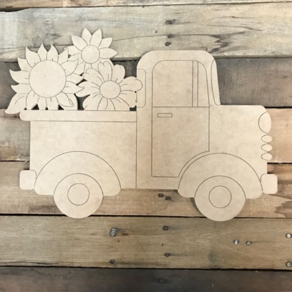 Old Style Truck With Sunflowers Unfinished Craft Paint By Line Tractor Crafts Woodworking Projects Unique Awesome Woodworking Ideas