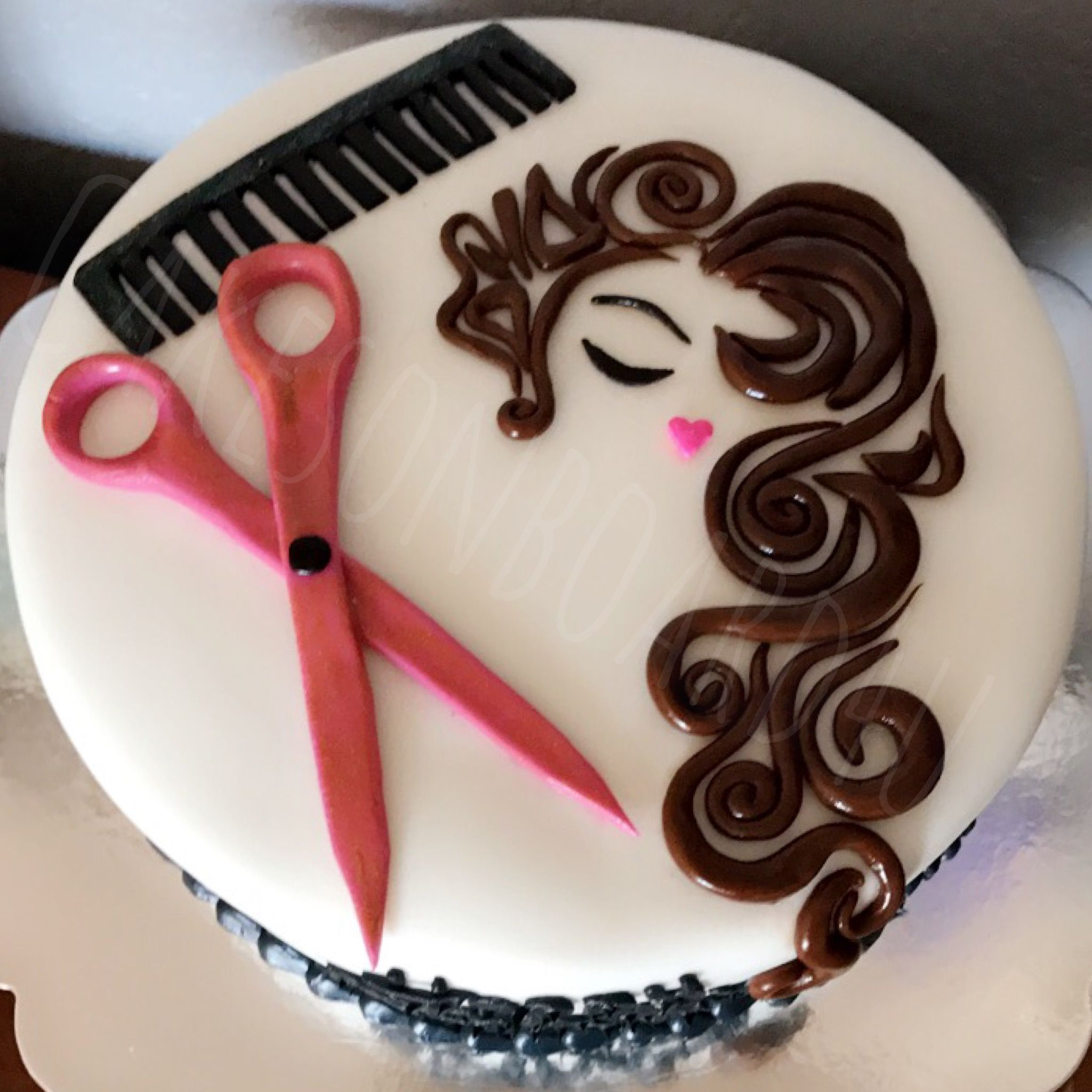 Hairdresser cake scissors comb face  Cakes on Board