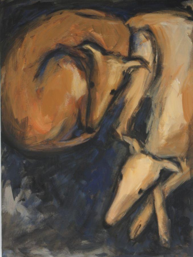 zwei liegende windhunde | Arte-Canino Windhundkunst