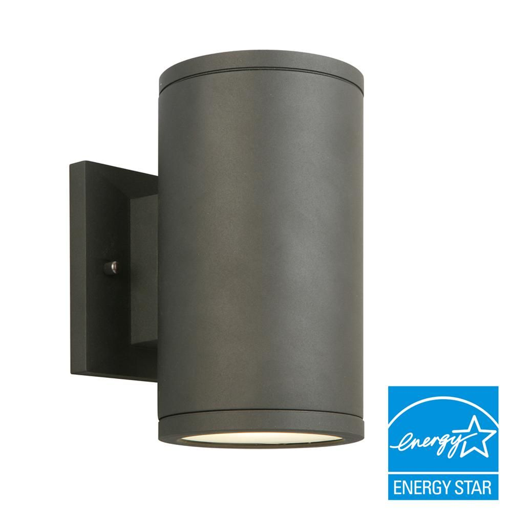 Home decorators collection black led outdoor wall lantern with frosted glass izc1691l 2 the home depot