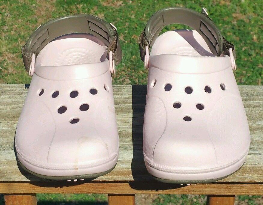 Crocs Ace Golf Slip On Velcro Shoes Pink Brown Size 7 #Crocs