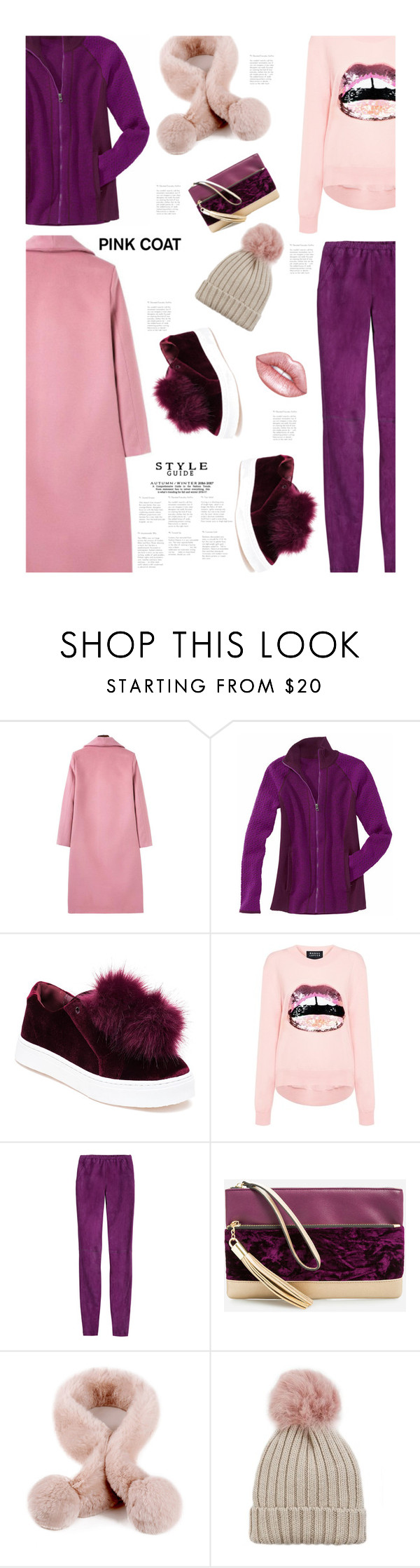 """""""Hey, Girl: Pretty Pink Coat'"""" by dianefantasy ❤ liked on Polyvore featuring Title Nine, Sam Edelman, Markus Lupfer, Emilio Pucci, Ashley Stewart, Jocelyn, Lime Crime, polyvorecommunity, polyvoreeditorial and pinkcoats"""