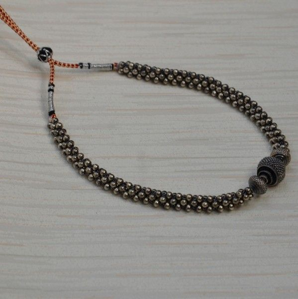 3c50237d50d58 AN_Mangalyam_Thushi_Silver_Oxidized | Silver collection | Beaded ...
