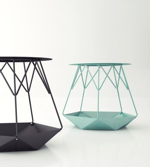 stool furniture Table metal Structure green pastel Origami triangle tube