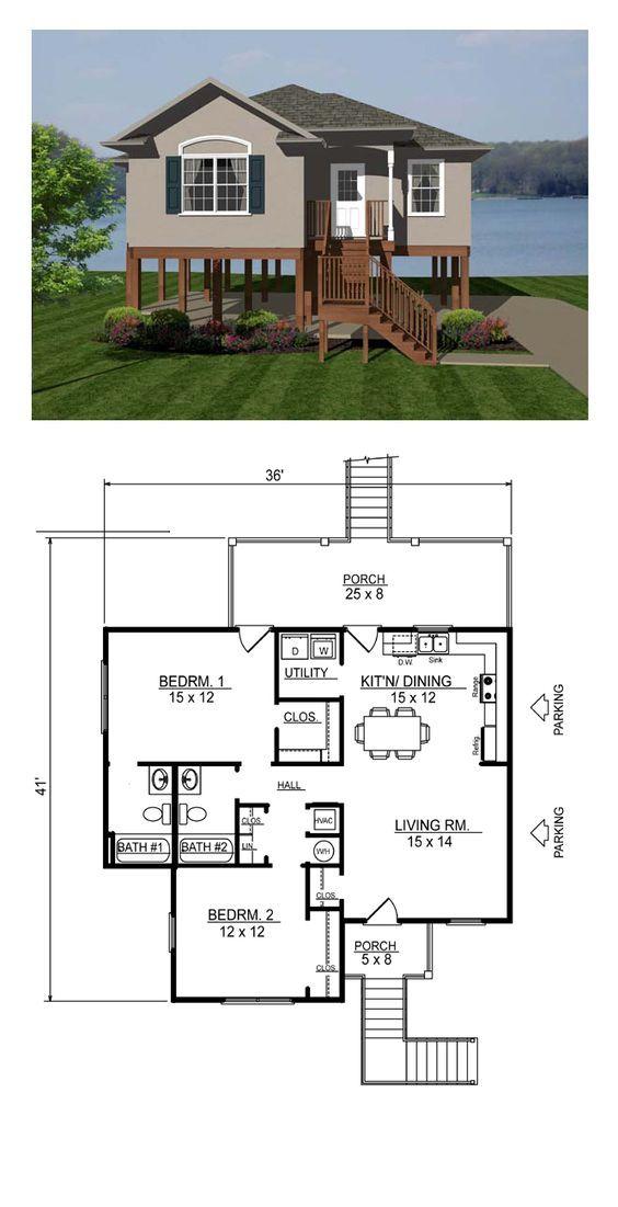 Coastal Style House Plan 96705 With 2 Bed 2 Bath Coastal House Plans Coastal Cottage House Plans