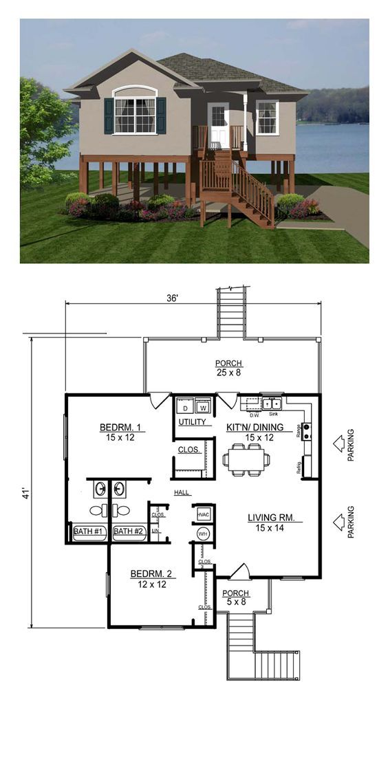 Coastal Style House Plan 96705 With 2 Bed 2 Bath Coastal House Plans Small House Plans Tiny House Plans