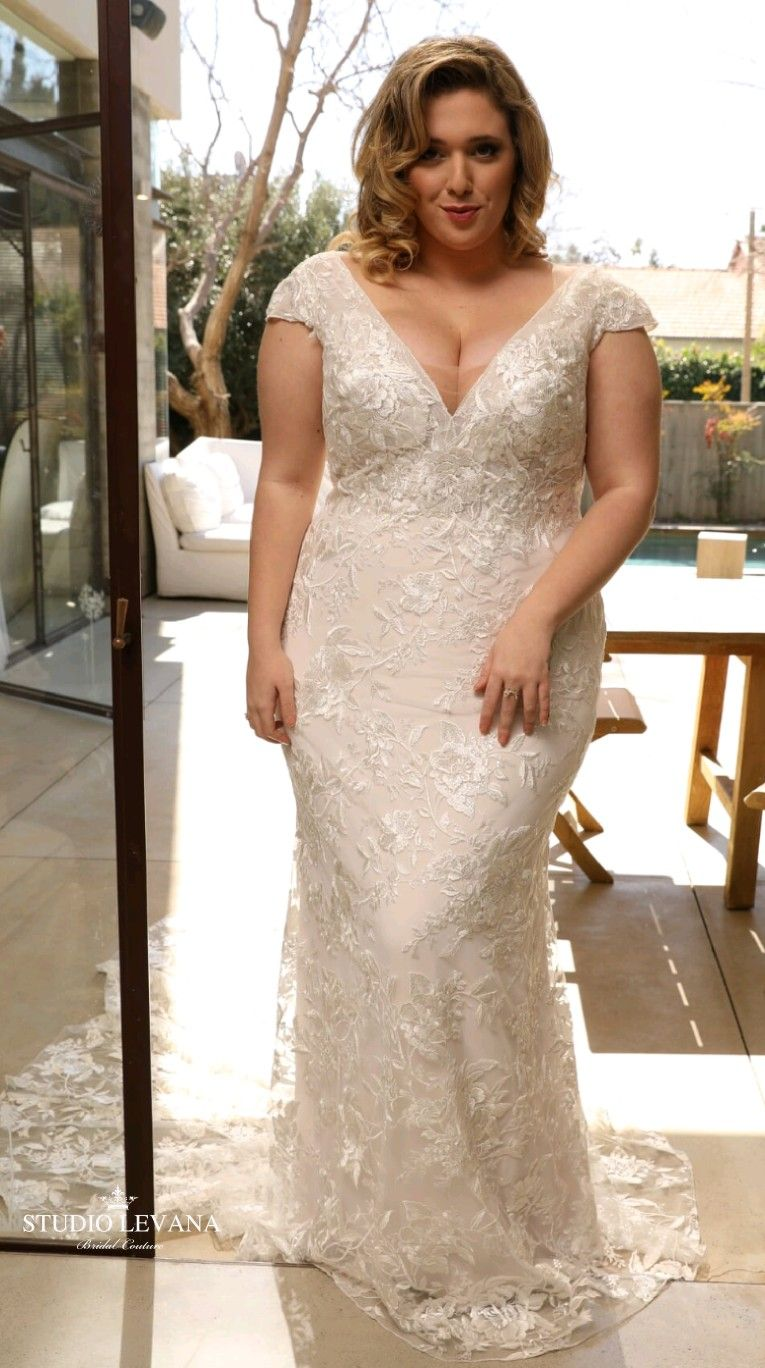Mermaid Lace Plus Size Wedding Gown With Short Cap Sleeves Lana