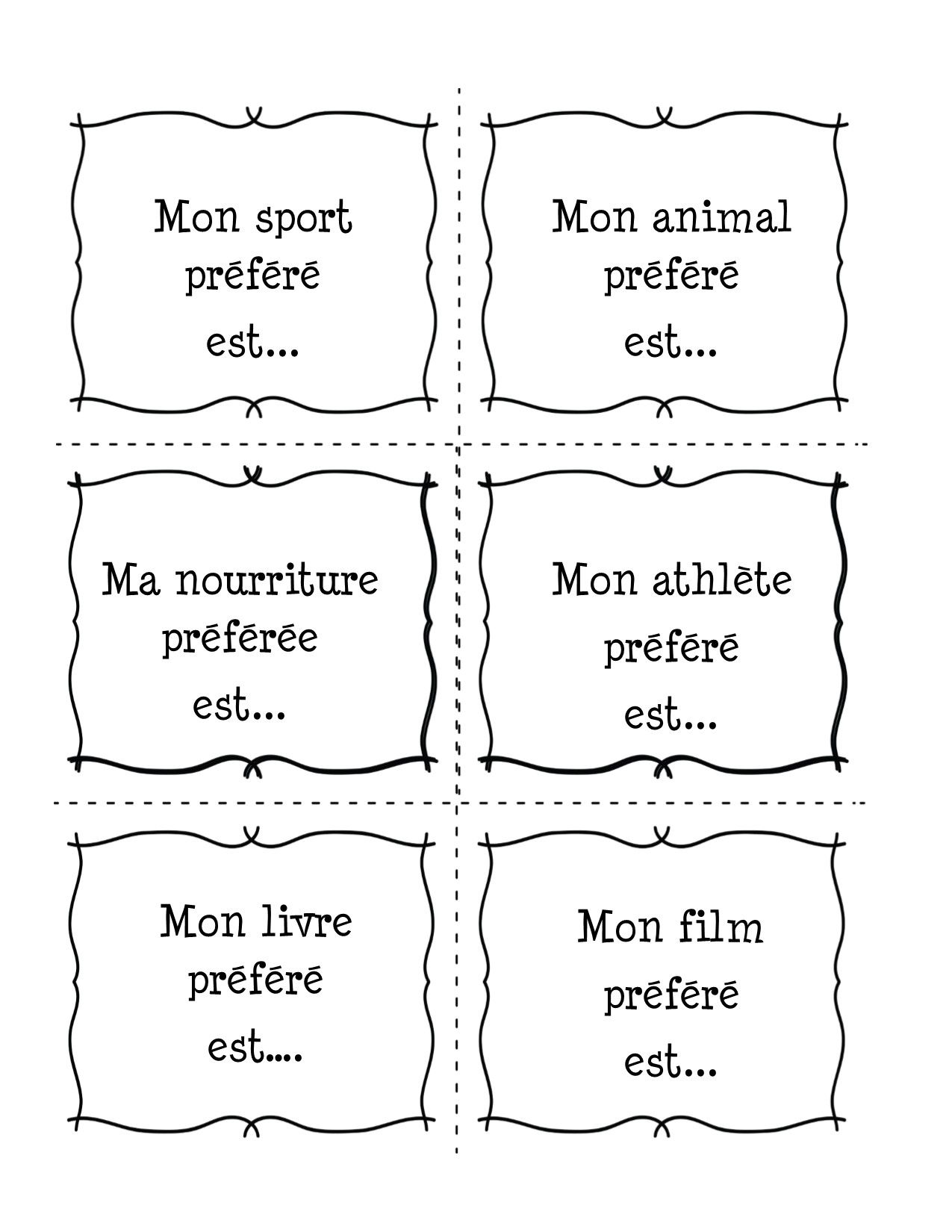 French Writing Prompts