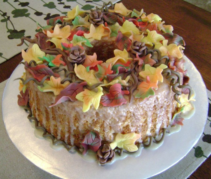 Autum Wreath colorful autumn wreath, angel food cake, butter glaze, candy clay decorations