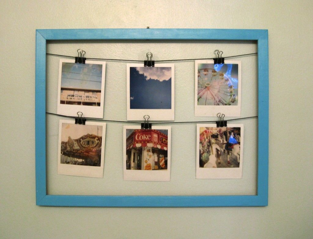 DIY polaroid frame.  This is such a cute idea.  Now I just need a polaroid camera... Don't they have apps that can turn pics into Polaroid style prints?!