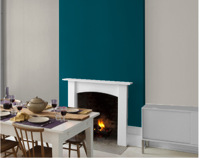 teal accent wall / fireplace wall but use blue of chair accent the