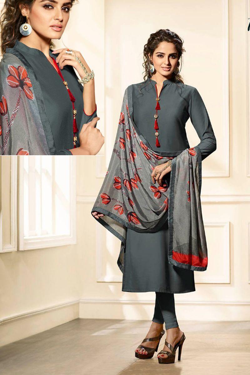 9df4e3998 Grey-Stand-Collar-Maslin-Silk-Straight-Plain-Long-Sleeve-Salwar-Suit-With-Printed-Duaptta-And-Pom-Pom-2402-7999   wholesale  wholesaler  bulk  bulkdealer ...