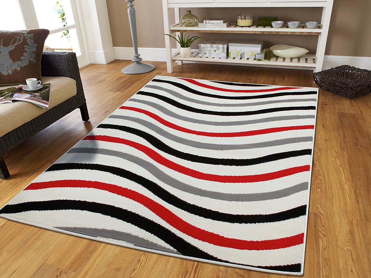 7X7 Area Rugs For Dining Room Luxury Wavy Pattern Area Rugs With Lines Black Grey Red White Rug