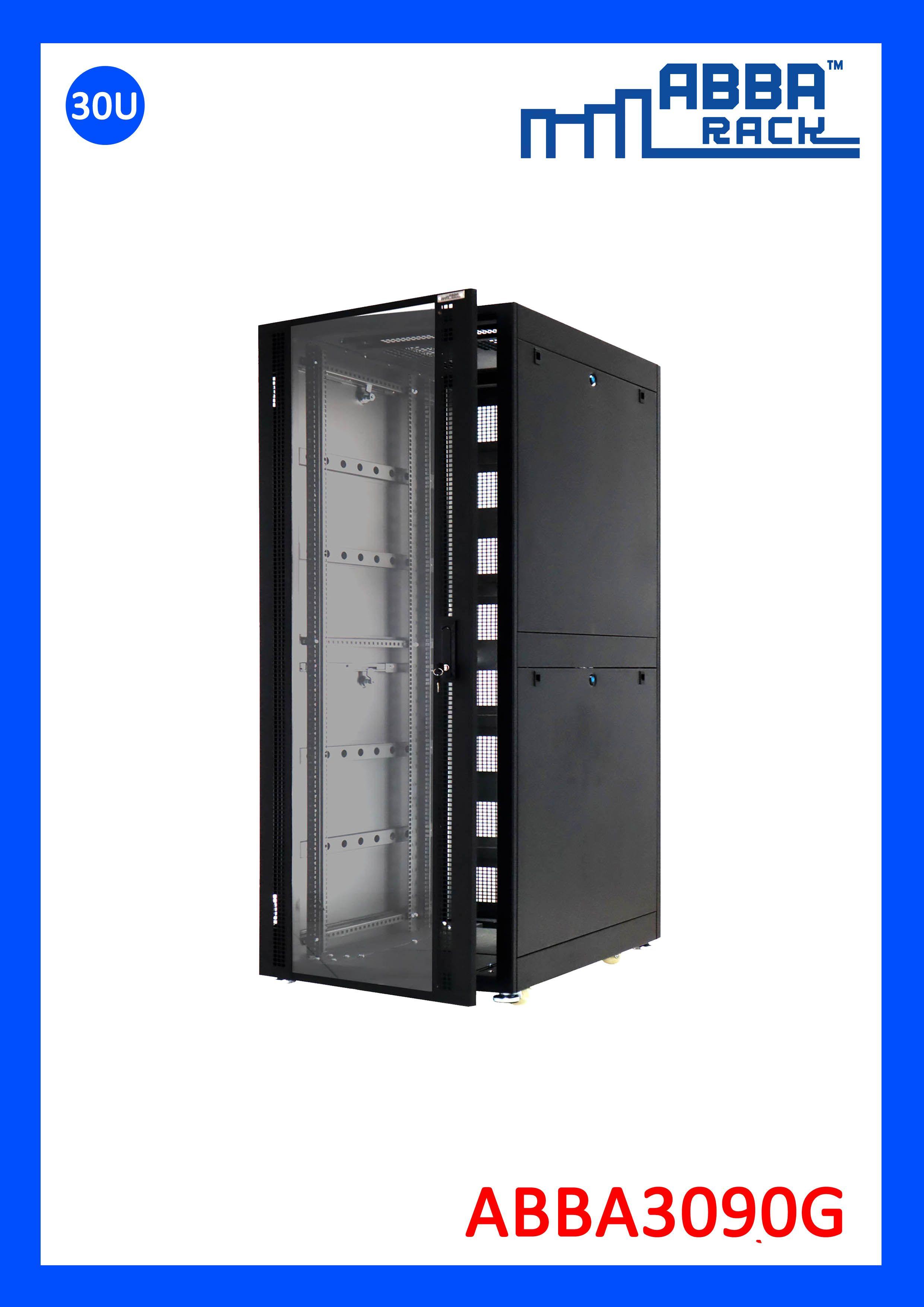 Jual Rack Server ABBA 30U depth 900mm Glass Door Locker
